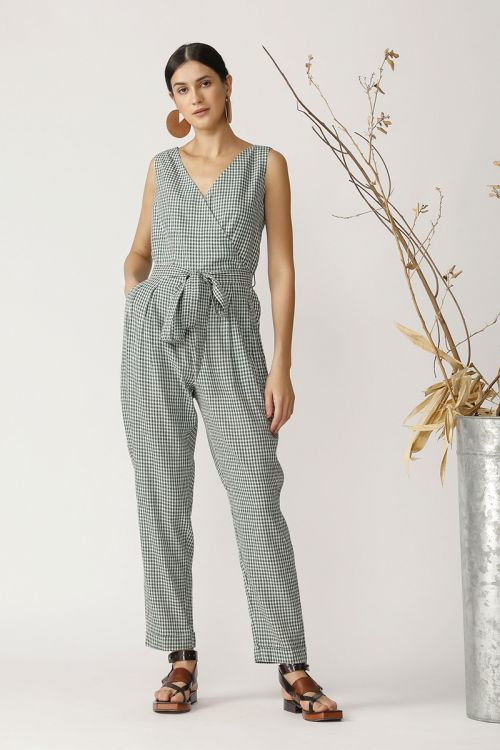 Check Jumpsuit With Belt