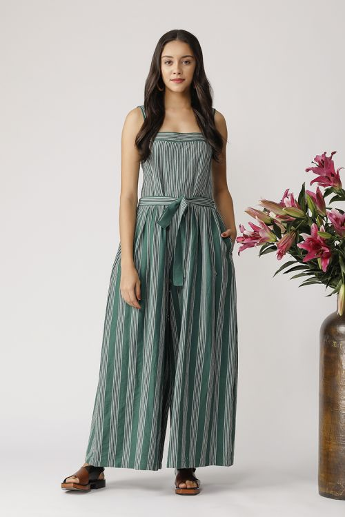 Stripe Jumpsuit With Box Pleat And Belt