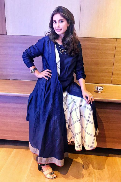 Lisa Ray in our Belted tunic with assymetrical dress