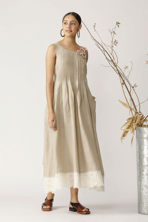 Long Linen Maxi With Pleats And Chanderi Lace Attachment At Bottom