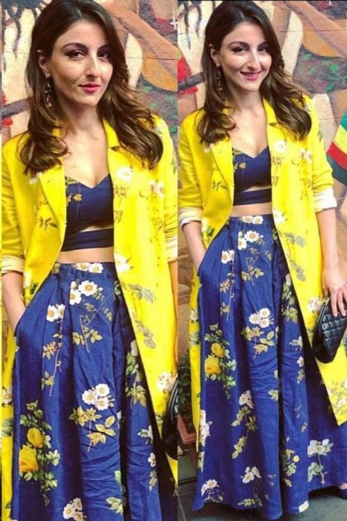 Soha Ali Khan in our Bustier with plazo and long jacket