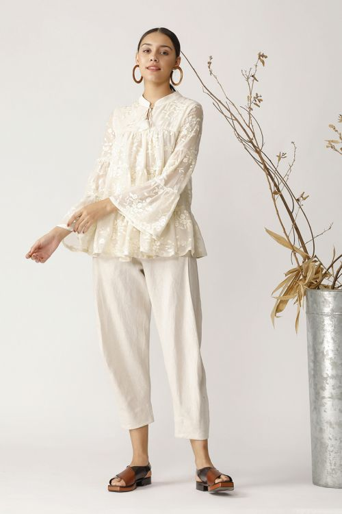 LORA TONAL EMBROIDERED TOP