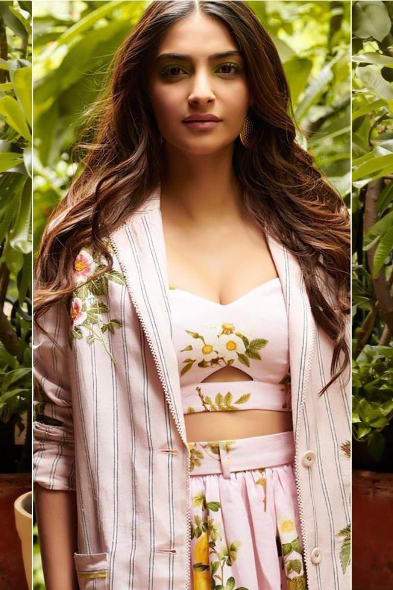 Sonam Kapoor in our Printed blouse with skirt and embroidered jacket