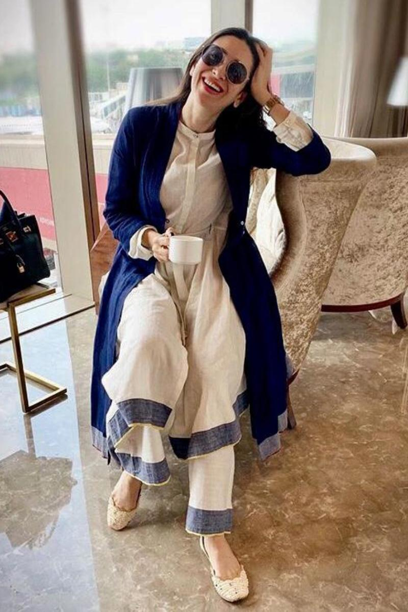 Karisma Kapoor in our Tunic with jacket and trousers